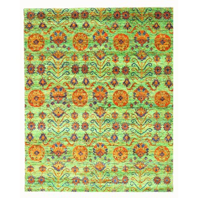 Hand Knotted Green Area Rug Rug Size: 8 x 10