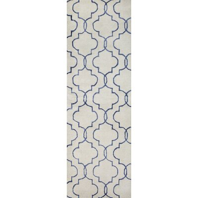 Venduruthy Hand-Tufted Ivory/Blue Area Rug Rug Size: Runner 26 x 8