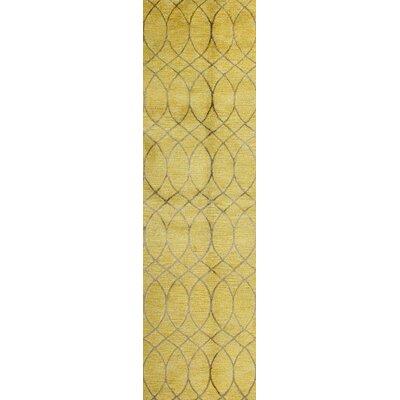 Mormugao Hand-Tufted Gold Area Rug Rug Size: Runner 26 x 8