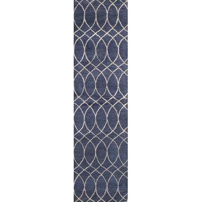 Kheston Hand-Tufted Navy Area Rug Rug Size: Runner 26 x 8