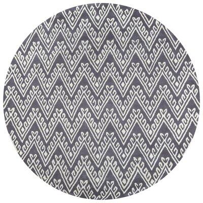 Bilhorod Hand-Tufted Dark Grey Area Rug Rug Size: Round 8