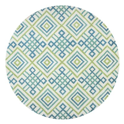 Ohio Hand-Tufted Teal/Lime Area Rug Rug Size: Round 8
