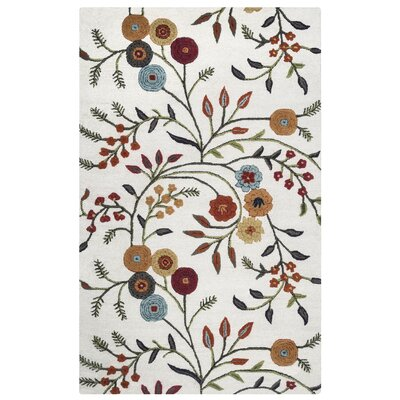 Koper Hand-Tufted White/Orange Area Rug Rug Size: 5 x 3