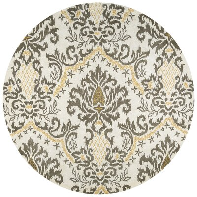 Montevideo Hand-Tufted Beige Area Rug Rug Size: Round 8