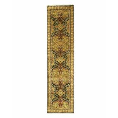 Nindaura Hand-Knotted Gold/Black Area Rug Rug Size: Runner 26 x 10