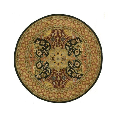 Madhupur Hand-Tufted Black Area Rug Rug Size: Round 6