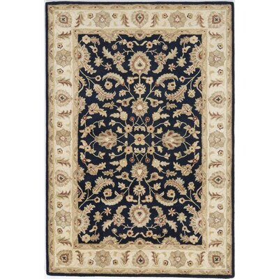 Allinagaram Hand-Tufted Navy Area Rug Rug Size: Round 5