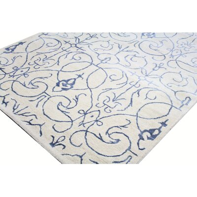 Louisa Ivory & Navy Rug Size: Rectangle 86 x 116