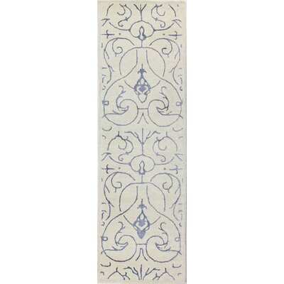 Chelsea Hand-Tufted Ivory/Blue Area Rug Rug Size: Runner 26 x 8