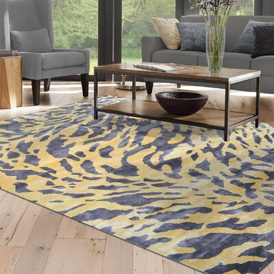 Belomorsk Hand-Tufted Grey/Yellow Area Rug Rug Size: 5 x 8