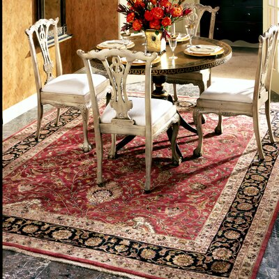 Hand-Knotted Red/Black Area Rug Rug Size: 8 x 10