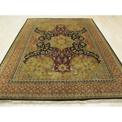 Nindaura Hand-Knotted Gold/Black Area Rug Rug Size: 12' x 15'
