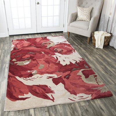 York Hand-Tufted Beige/Red Area Rug Rug Size: Round 8