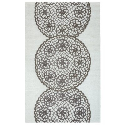 Rico Hand-Hooked Gray Area Rug Rug Size: Rectangle 5 x 8