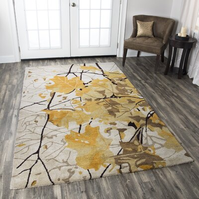 Bremen Hand-Tufted Beige/Yellow Area Rug Rug Size: Rectangle 5 x 8