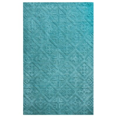 Split Hand-Loomed Teal Area Rug Rug Size: 5 x 8