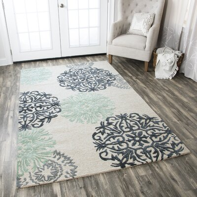 Poti Hand-Tufted Light Blue Area Rug Rug Size: 3 x 5