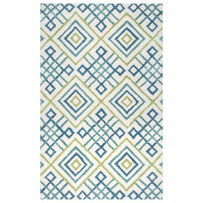Ohio Hand-Tufted Teal/Lime Area Rug Rug Size: 5 x 8
