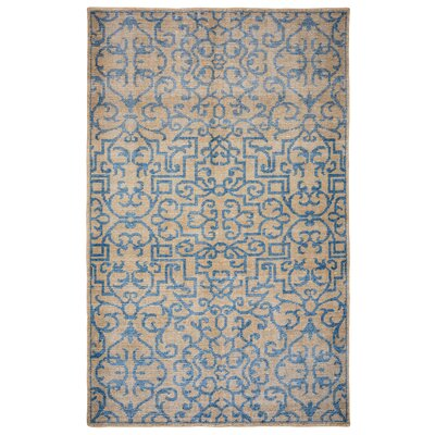Runcorn Hand-Knotted Beige/Light Blue Area Rug Rug Size: Rectangle 5' x 8'