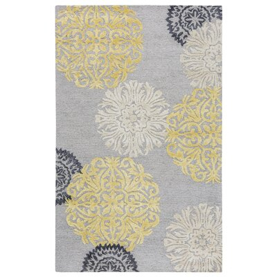 Constanta Hand-Tufted Gray/Yellow Area Rug Rug Size: 5 x 8