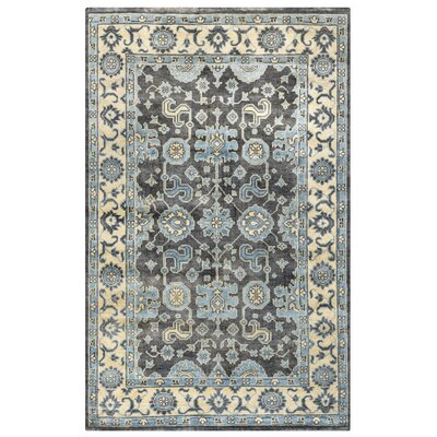 Basse Hand-Knotted Ivory/Charcoal Area Rug Rug Size: Rectangle 5 x 8