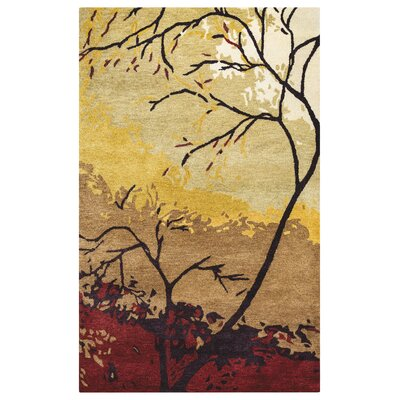 French Hand-Tufted Brown/Red Area Rug Rug Size: 8 x 10