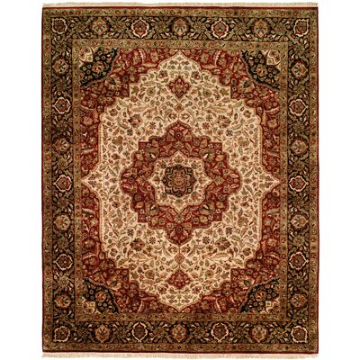 Banik Hand-Woven Beige/Black Area Rug Rug Size: Rectangle 6' x 9'