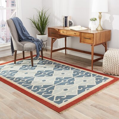 Pehowa Hand-Woven Blue/Red Area Rug Rug Size: 8 x 10