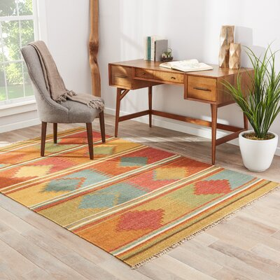 Anndale Hand-Woven Red/Orange Area Rug Rug Size: 5 x 8