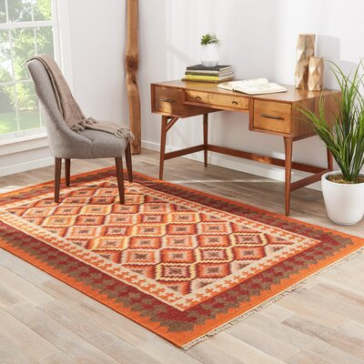 Colma Hand-Woven Red Area Rug Rug Size: 2 x 3