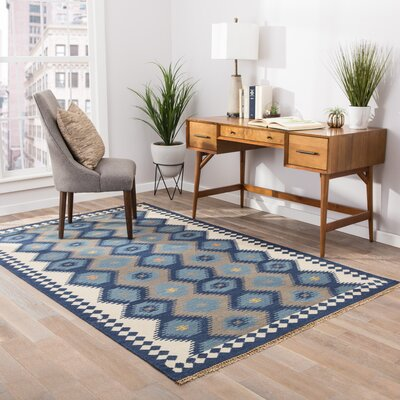 Piro Hand-Woven Blue/Gray Area Rug Rug Size: 2 x 3