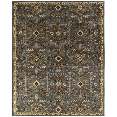 Chana Hand-Woven Blue/Brown Area Rug Rug Size: Round 4