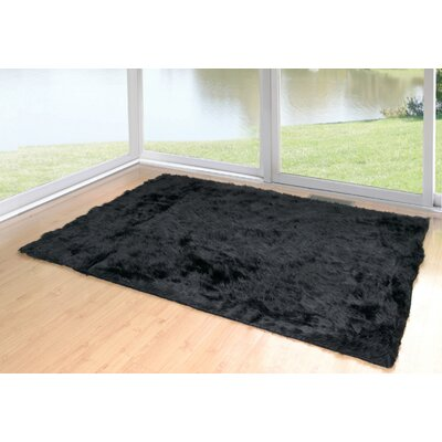 Anvi Faux Fur Black Area Rug Rug Size: Rectangle 5 x 8