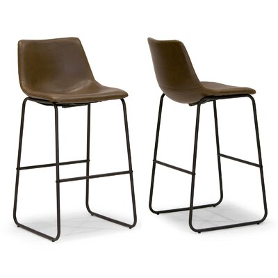 Adan 28.5 Bar Stool Upholstery: Brown