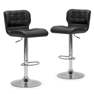 Adjustable Height Swivel Swivel Bar Stool Upholstery: Black