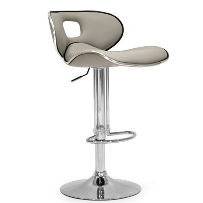 Adjustable Height Swivel Swivel Bar Stool Upholstery: Ash Gray