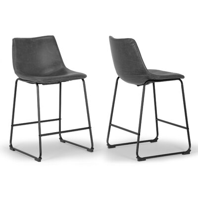 Adan 23.5 Bar Stool Upholstery: Grey
