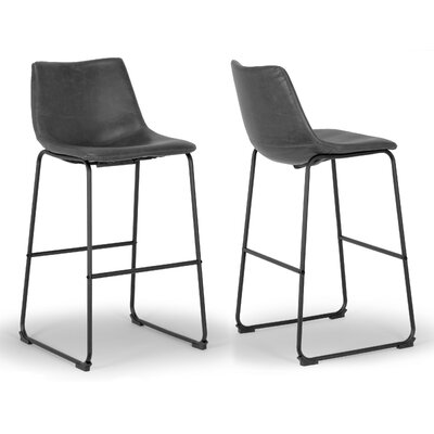 Adan 28.5 Bar Stool Upholstery: Grey