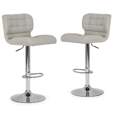 Adjustable Height Swivel Swivel Bar Stool Upholstery: Ash Grey