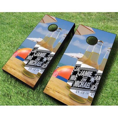 Beach Wedding Brew Cornhole Set +Red/Black