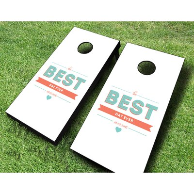 The Best Day Ever Wedding Cornhole Set 107-Wedding Best Day Ever+Red/Black