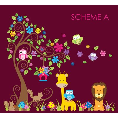 Swirly Tree, Jungle, Owl and Giraffe Nursery Wall Decal 10104-A