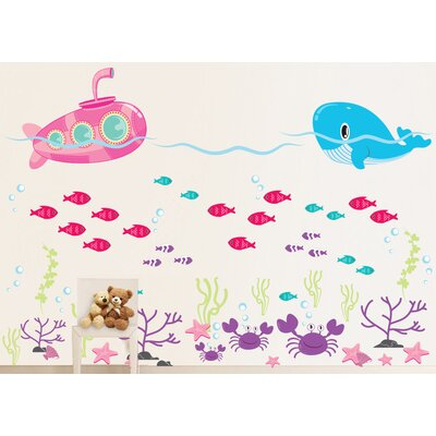 Submarine, Ocean, Whale, Fish and Crab Under the Sea Wall Decal Color: Scheme C