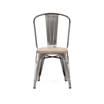 Dreux Side Chair Base Finish: Clear Gunmetal, Upholstery: Light Elm