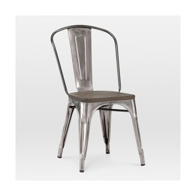 Halie Side Chair Base Finish: Clear Gunmetal, Upholstery: Elm