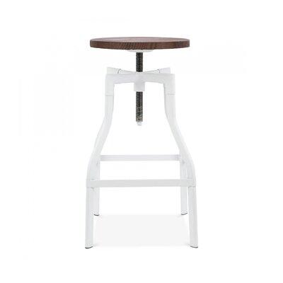 Design Lab MN Machinist Adjustable Height Bar Stool - Finish: Glossy White
