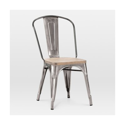Halie Side Chair Base Finish: Clear Gunmetal, Upholstery: Light Elm