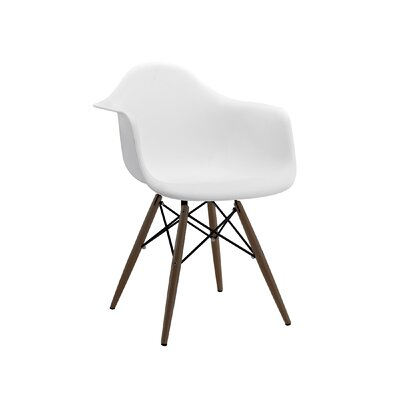 Trige Solid Wood Dining Chair Leg Finish: Walnut, Seat Finish: White