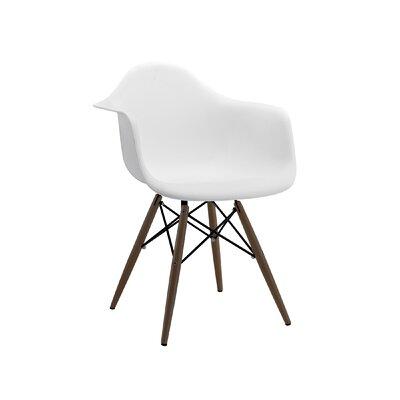 Trige Arm Chair Leg Finish: Walnut, Seat Finish: White