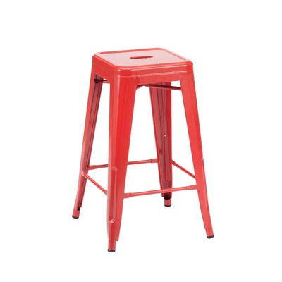 Halie 26 Bar Stool Finish: Glossy Red